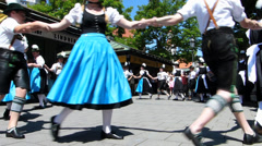Traditional Bavarian Folk dance social group dancing Munich Germany Europe Stock Footage