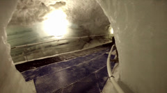 Walking inside Matterhorn Glacier Paradise with 1 woman Stock Footage