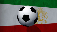 Soccer ball rotates on an animated Iran flag - Video Background Stock Footage