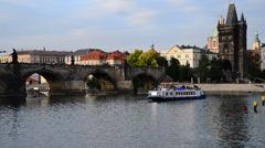 vltava river at dusk,prague, czech republic, locked down - stock footage