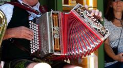Bavarian Brass music instrument Harmonika Accordions Munich Germany Europe Stock Footage