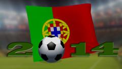Soccer world cup 2014 - Portugal flag - background video Stock Footage