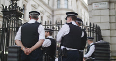 Police to Whitehall rack focus 4K Stock Footage