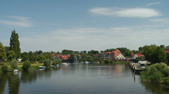 """Havelberg, City scene with river """"Havel"""" Stock Footage"""