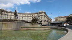 Fountain of the Naiads at piazza Republica Stock Footage