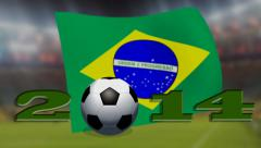 Soccer world cup 2014 - Brazil flag - background video Stock Footage