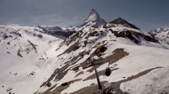 Matterhorn alpine panorama with cable car at Schwarzsee Stock Footage