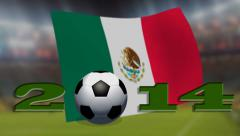 soccer world cup 2014 - Mexico flag - background video - stock footage