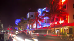 Miami Ocean Drive night timelapse - stock footage