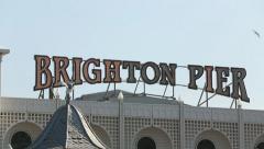 Brighton Pier Sign L-R pan Stock Footage