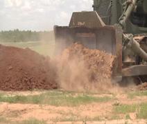 Bulldozer crawler tracked tractor Stock Footage