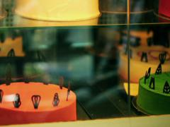 Delicious display of cakes, steadycam shot Stock Footage