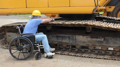 disabled maintenance mechanic - stock footage