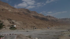 Bus locomotive on the Judaic desert Stock Footage