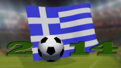 Soccer world cup 2014 - Greece flag - background video Stock Footage
