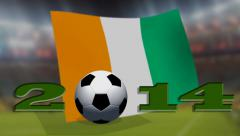 Soccer world cup 2014 - ivory Coast flag - background video Stock Footage