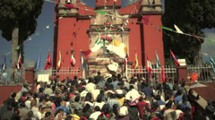 Pilgrims on the Mexican church's entrance Stock Footage