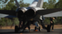 F/A-18 Final Check on Hornet jet fighter Stock Footage