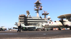 E2-C Hawkeye USS George H.W. Bush (CVN 77) aircraft carrier operations Stock Footage