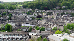 Kendal townscape high angle view Stock Footage