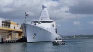 Dutch warship vessel HNMLS Groninger P843 patrol boat 8 Stock Footage