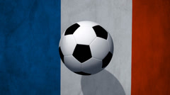 Soccer Ball rotates with animated france flag - Video Background - stock footage