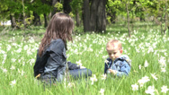 Stock Video Footage of Beautiful mother caresses little child in nature, boy offer a daffodil flower