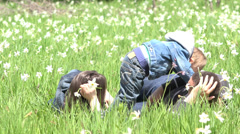 Little child with parents in nature, child is human bridge between parents Stock Footage