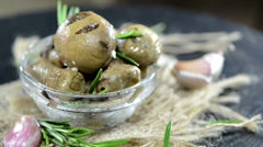 Grilled mushrooms (loopable video) Stock Footage