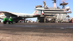 EA-6B Prowler USS George H.W. Bush (CVN 77) aircraft carrier operations Stock Footage
