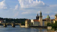 Charles bridge, Prague skyline, timelaspse Stock Footage