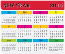 year 2015 monthly colorful calendar - stock illustration