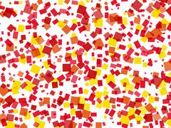 Multicolored confetti shapes in chaotic arrangement. pattern with clipping pa Stock Illustration