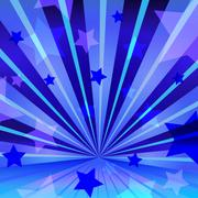 Abstract blue background with stars and radiating - stock illustration