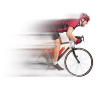 Cyclist sprints on a bike isolated on white background Stock Photos