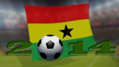 Soccer world cup 2014 - Ghana flag - background video Stock Footage