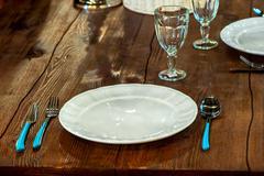 Textured wooden worktop and table utensils Stock Photos
