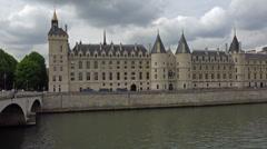 Establishing shot. France, Paris, Conciergerie and river Seine. Stock Footage