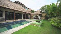 Balinese villa with pool Stock Footage