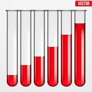 transparent test tubes with liquid at various levels. vector illustration. - stock illustration
