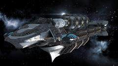 Alien battleship in deep space travel Stock Illustration