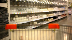 Customers bought goods and trolley rides to the checkout. Video shift motion Stock Footage