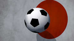 Soccer Ball rotates with animated japan flag - Video Background - stock footage