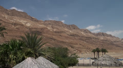 Mountains and palms of the Judaic desert Stock Footage