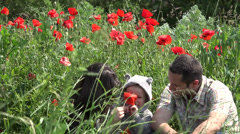 Happy childhood,lovely little child, parents playing with poppy flower, nature Stock Footage