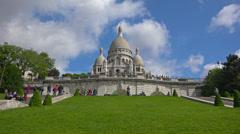 Establishing shot. France, Paris, basilica Sacre Coeur, Montmartre hill. Stock Footage