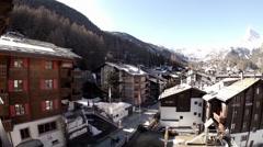 Alpine Zermatt hotels pan view Stock Footage