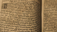 Ancient manuscript reading Stock Footage