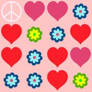 many shapes of heart, flowers and  peace symbol - stock illustration