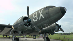 A Douglas C-47 on display at the Merville Battery, Lower Normandy, France. Stock Footage